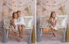 Studio set-up idea for Christmas Minis. Gold, Silver, Cream, White. Winter Wonderland! Photo credit 2 Chicks Photography.