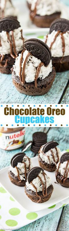 Chocolate Oreo Cupcakes- delicious homemade chocolate cupcakes topped with Oreo…