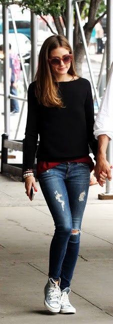 For running errands- blouse that is a little long, sweater, ripped jeans, sneakers