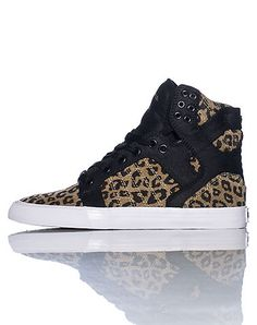 SUPRA High top womens sneaker Cheetah print throughout Lace up closure Cushioned sole for ultimate comfort