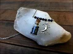 Long gemstone necklace with cork top vial and moon charm. $22.00, Visit ------> www.nimbossa.etsy.com :)