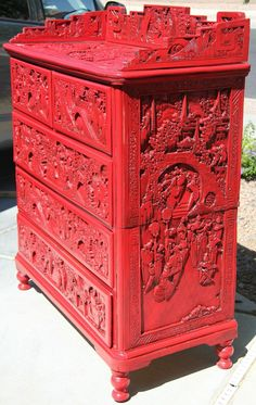 Antique Cinnabar Cabinet.  Maybe i should paint all of my Chinese carved furniture RED!!!!!