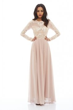 Long Sleeved Lace Maxi Dress £55.00 AT vintagedancer.com