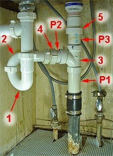 Pipe layout for kitchen sink drain plumbing.