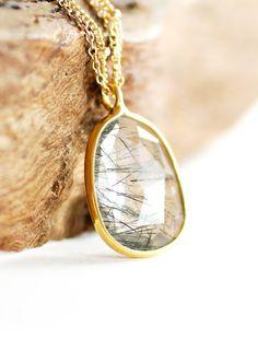 Kau'i necklace  gold black tourmalated quartz by kealohajewelry, $79.00