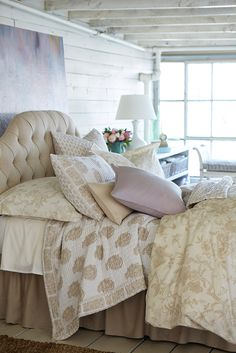 Mix different patterns in the same hue for a cohesive look - Camden Headboard from Ballard in Linen