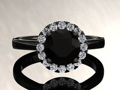 Natural Black Diamond Halo Engagement Ring Black Diamond Ring 14k or 18k Black Gold Matching Wedding Band Available W6BKDBK