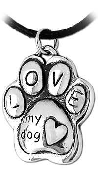 Puffy Paw Print Sterling Necklace at The Animal Rescue Site