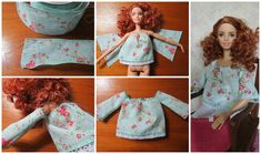 The video consists of 23 Christmas craft ideas. Sewing Barbie Clothes, Barbie Dolls Diy, Barbie Clothes Patterns, Doll Dress Patterns, Crochet Doll Clothes, Sewing Dolls, Barbie Dress, Diy Doll, Diy Clothes
