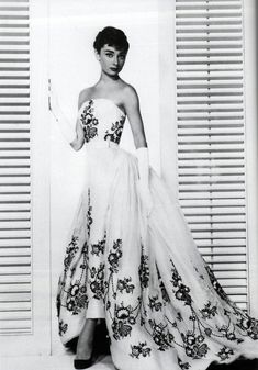 "Audrey Hepburn in ""Sabrina"" (1954) What a lady, and what a dress. Favorite human being"