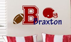 Football with Name & Initial Vinyl Wall Decal  by landbgraphics