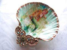 Mermaid Treasure Soap Dish With Vintage Jewelry