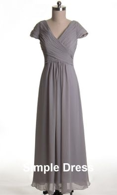 A-line V-neck Short Sleeves Floor-length Chiffon Grey Long Bridesmaid/Evening/Party/Formal/Prom/Cocktail Dresses 2013 With Pleat