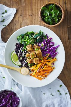 Forbidden Rice Buddha Bowl with Crispy Tofu