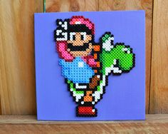 Mario and Yoshi Peace Perler Bead Wall Art by MandogDesigns