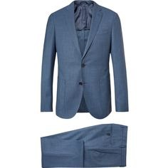 Hugo Boss Blue Nolton Slim-Fit Virgin Wool Suit ($835) ❤ liked on Polyvore featuring men's fashion, men's clothing, men's suits, mens blue suit, mens slim suits, men's 2 piece suits, mens slim cut suits and mens slim fit suits