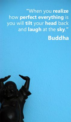 """When you realize how perfect everything is, you will tilt your head back and laugh at the sky."" -Buddha"