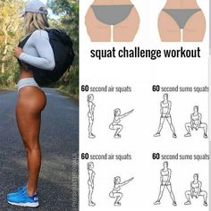 Squat challenge workout to tone your glutes! Summer Body Workouts, Gym Workout Tips, Fitness Workout For Women, Toning Workouts, Fitness Workouts, Body Fitness, At Home Workouts, Fitness Motivation, Health Fitness