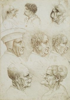 Five grotesque heads, and three heads of men in profile | Royal Collection Trust