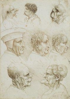 Leonardo da Vinci, Five grotesque heads, and three heads of men in profile | Royal Collection Trust