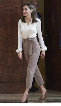 White blouse and grey pants for office