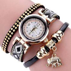 Duoya Gold Elephant Pendant Luxury Bracelet Watch