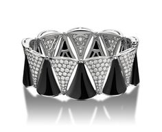 DIVA Bracelet by Bulgari in 18k white gold with onyx and pave diamonds.
