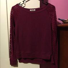 Lace aero top Dark pink/purple lace sleeve top from Aero Aeropostale Tops Tees - Long Sleeve