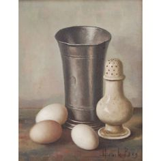 Henk Bos Dutch  Old Master Style Still Life Painting Beaker Hard-Boiled Eggs - Henk Bos Dutch  Old Master Style Still Life Painting Beaker Hard-Boiled Eggs
