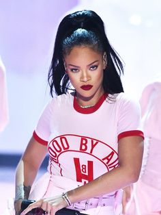 Rihanna's high pony and matte red lip are so cool