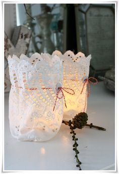Use purple & orange thin ribbon to tie around lace votives to cover mini candle from Bath & Body Works:-)!