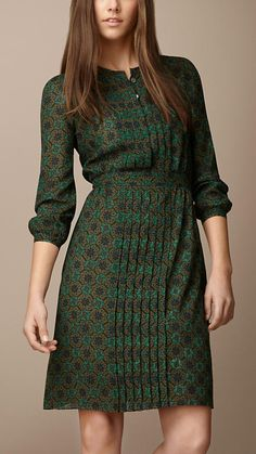 Burberry Brit Pleat Detail Floral Print Dress