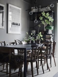 Dining Room Inspiration: 10 Scandinavian Dining Room Ideas You'll Love Decoration Inspiration, Dining Room Inspiration, Interior Design Inspiration, Decor Ideas, Room Ideas, Inspiration Boards, Swedish Interiors, Dark Interiors, Gravity Home