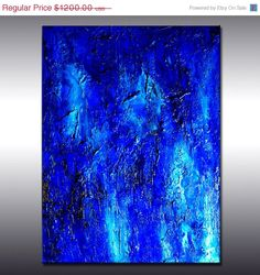 Original Textured Blue Abstract Painting, Huge  Contemporary Modern fine art by Henry Parsinia Large 48x36 on Etsy, $720.00