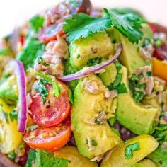 Very simple, flavorful, and tasty, this Avocado Tuna Salad requires just a few ingredients and 10 minutes of your time. Enjoy it for lunch or on the side with your favorite meal. Visit Cooktoria to get a printable recipe. #tuna #avocado #salad #lunch #healthyrecipe #recipeoftheday Easy Tuna Salad, Avocado Tuna Salad, Avocado Salad Recipes, Avocado Salat, Best Salad Recipes, Tuna Recipes, Cooking Recipes, Healthy Recipes, Gourmet