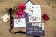 Created by Peruvian-born artist and graphic designer Daniella Manini, this invitation suite featured lively illustrations representative of Peruvian floral embroidery. The envelope liner mimicked geometric patterns found in ancient Peruvian textiles.   Photo by Allison Maginn