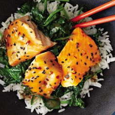 Asian Salmon Bowl with Lime Drizzle - heart-protecting fats in salmon also help your skin stay healthy.