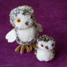 pom pom owl ornaments