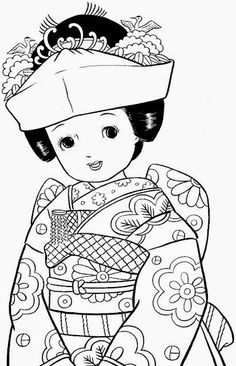 The Beauty of Japanese Embroidery - Embroidery Patterns Coloring Pages For Grown Ups, Coloring Book Pages, Coloring For Kids, Coloring Sheets, Japanese Embroidery, Vintage Embroidery, Embroidery Patterns, Doodles, Thinking Day