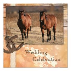 Horses Country Wedding Invitation - #wedding #horses #rustic #country #horseshoes - part of a wedding line with a horse theme by ©Anne Vis