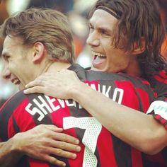 Paolo Maldini and Sheva Legends Football, Football Art, Paolo Maldini, Soccer Games, Ac Milan, Champions League, Football Players, Memes, Superstar