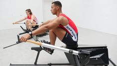 This image shows Martin and Chiara, two accomplished rowers on the Biorower S1club (closer to us) and the Biorower S1pro (farther away from us) Both models help you to enjoy the full indoor rowing experience - in your gym, in your living room, in your rowing club or in the shed of your garden. Indoor Rowing, Rowing Club, Rowing Machines, First World, Closer, Shed, Sporty, Boat, Train