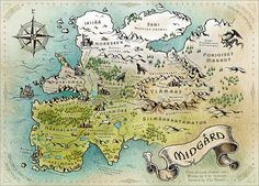 Viking - Ye Gods, and Other Big Fish* in the Norse Sea of Myth Midgard mapped - the world of mankind, one of the nine worlds in Norse mythology from which Odin's ravens, his messengers bring news Fantasy Map Making, Fantasy World Map, Fantasy City, Fantasy Places, Imaginary Maps, Rpg Map, Map Projects, Vintage Maps, Antique Maps