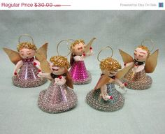 HAPPY HOLIDAY SALE 1950's Tinsel Angels Christmas Tree by COBAYLEY