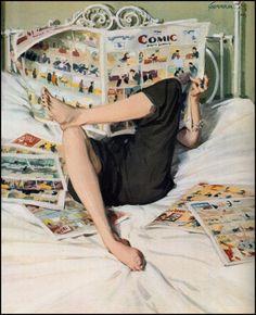 """""""When I read Comic"""" Illustration de l'artiste américain John Gannam Vintage Comics, Vintage Posters, Vintage Art, Vintage Ladies, Illustrations, Illustration Art, Vintage Housewife, Poses References, Art Graphique"""