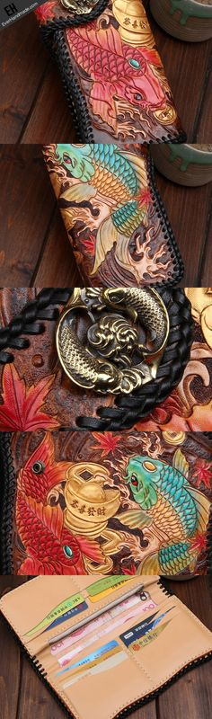 Handmade leather biker trucker wallet leather chain men carp Black Carved Tooled wallet