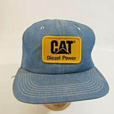 d756ea6770e Vintage CAT Diesel Power Hat Adjustable Snapback Cap Trucker Farmer Denim  Blue  Tonkin  BaseballCap