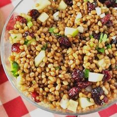 Wheat Berry Apple Salad Recipe Salads with granny smith apples, dried cranberries, scallions, parsley, lemon juice, balsamic vinegar, olive oil