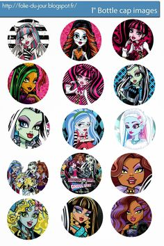 I& sharing free digital bottle cap images I created Monster High Crafts, Festa Monster High, Monster High Birthday, Monster High Party, Bottle Cap Jewelry, Bottle Cap Art, Bottle Top, Bottle Cap Images, Bottle Cap Projects