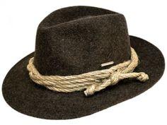 Rustikaler Hut, ungeschliffene Merino Qualität, Sisalkordel, Burmenta-Metallplakette Krempe: ca. 5,7cm